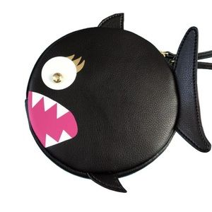 Betsey Johnson black fish coin purse/wristlet!
